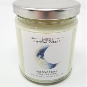 Moonstone Crystal Candle with Real Crystal